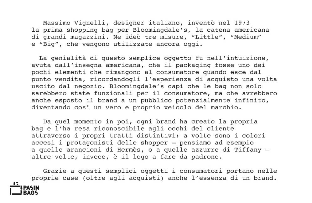 Massimo Vignelli e la shopping bag per Bloomingdale's